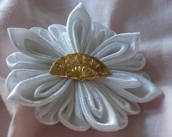 White Satin Bridal Kanzashi Flower with Gold Victorian Fan Button Accent Barrette