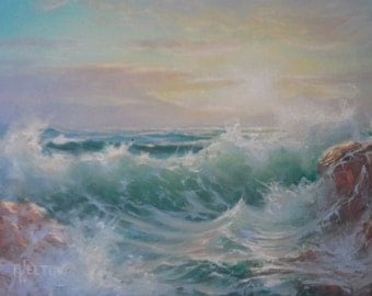 Green Waves in Sunset Seascape Sea Ocean Waves Surf Marine Original Oil Painting