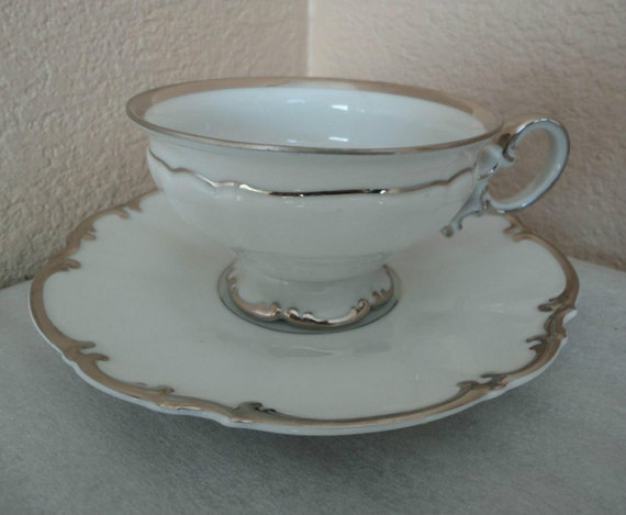 items similar to hutschenreuther selb bavaria germany pasco silver gild german porcelain tea cup. Black Bedroom Furniture Sets. Home Design Ideas