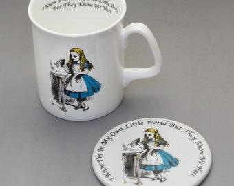 Alice In Wonderland White Bone China Mug and Coaster