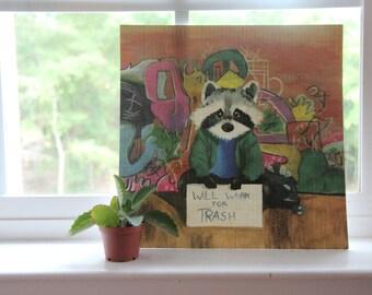 When Raccoons Are Hobos, Animal Art Print