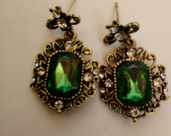 Baroque Inspired Emerald Crystal and Brass Earrings