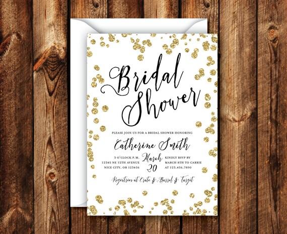 Black gold bridal shower invitation elegant modern rustic for Black and gold wedding shower invitations