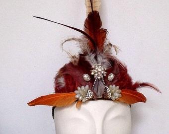 Studded and Jeweled Feather Headdress