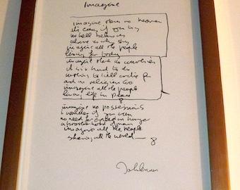 John Lennon (The Beatles)  Imagine Lyrics signed autographed A4 print on black card mount, black frame, or gold frame
