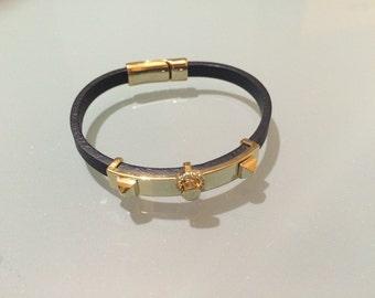 New Gold Red Black Leather Swarovski Rhinestones Bracelets Birthday Gift Valentine's Day Christmas Anniversary