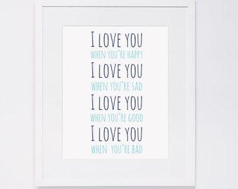 I love you, Nursery Wall Art, navy & teal, digital art INSTANT DOWNLOAD