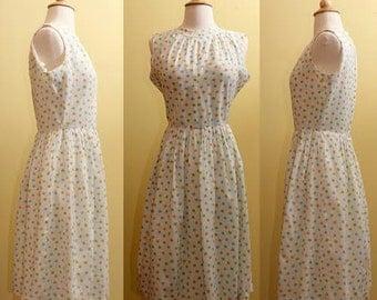 Vintage 1960s Polkadot Summer Dress Small