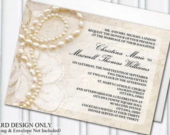 Wedding Invitation Design Ottawa. Pearls  Lace Wedding Invitation Glam Themed Glamorous Ivory DIY Bride Blended Family Blending Stepfamily