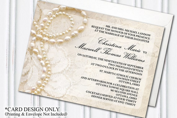 Lace Themed Wedding Invitations: Pearls & Lace Wedding Invitation Glam Themed Wedding