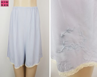 1940s Perrico Cami  Knickers Light Blue with Lace Trim and Embroidery 10/12