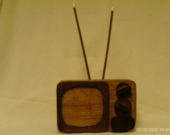 "Handmade Wooden TV  coin Bank (with ""hidden"" coin access)"