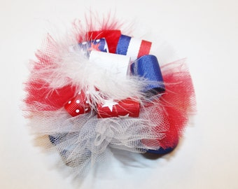 Patriotic Burst Bow, Red, White and Blue Hair Bow, Funky Hair Bow, Loopy Bow, Stars and Stripes Hair Bow, 4th of July Hair Bow