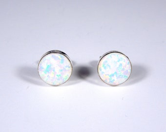 6mm Round White Fire Opal Genuine 925 Sterling silver stud post earrings - Made in USA