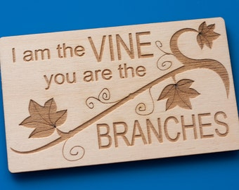 I am the vine engraved Bible verse plaque magnetic