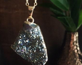 Silver Titanium Druzy Pendant Necklace