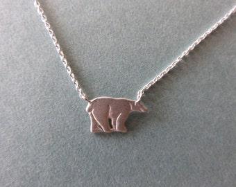 Polar bear necklace, bear necklace,Silver Bear, Bear charm necklace, silver Bear necklace,animal necklace, polar bear jewelry,