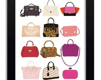 It Bags - Fashion Illustration Print Fashion Print Fashion Art Fashion Wall Art Fashion Poster Fashion Sketch Illustration Art Print