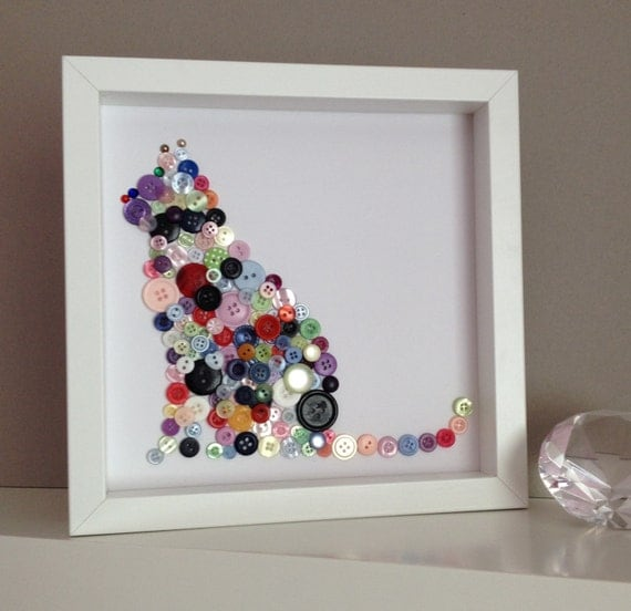 Button Cat Wall Art, Button Art Cat, Button Animals, Mothers Day Gift Idea.  ◅