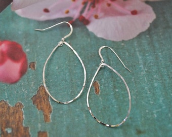 Rain Drop Earrings, Sterling Silver earrings, Hoop Earring, West Coast Earrings, Sterling Silver Raindrop earrings, Sterling Silver Raindrop