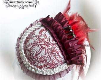 The woman in red rococo fascinator- gothic fascinator-rococo headpiece-gothic headpiece-fascinator
