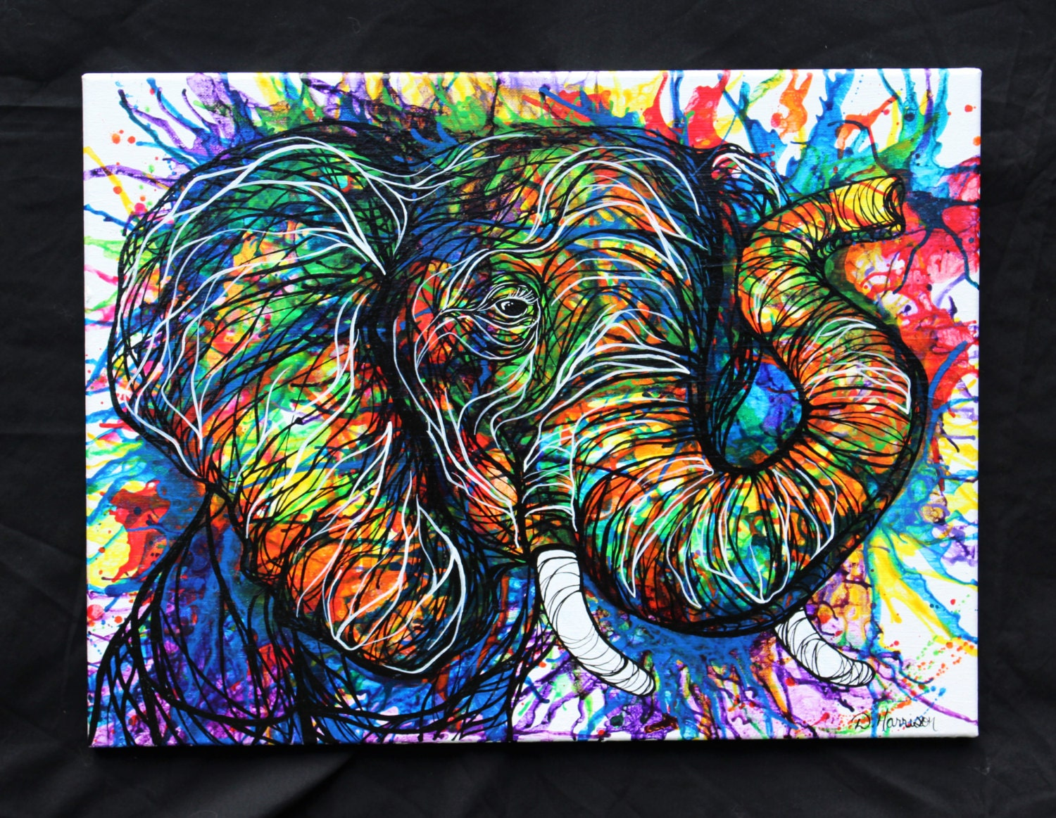 Abstract Colorful Elephant Art Original Acrylic Painting