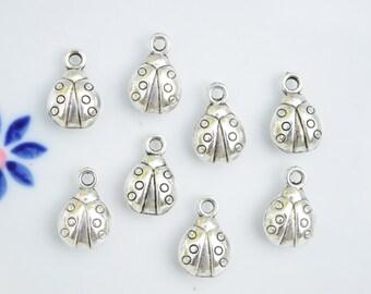 6 Lady bug charms | insect charms | Ladybug charms | beetle charms | ladybugs | silver lady bug pendant | lady bird charms | SC457