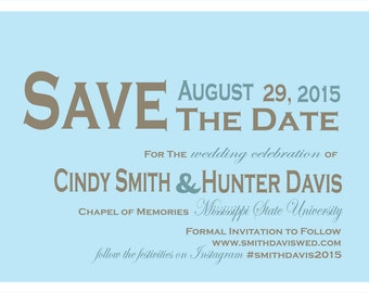 Brown and Blue Save the Date
