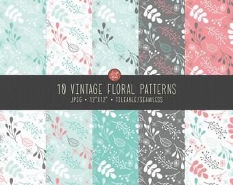 10 Vintage Floral Seamless Patterns - Instant Download