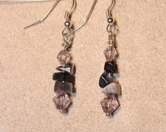 Earrings - Black and grey cat's eye with pale purple beads