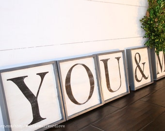 You & Me capital letter signs, you and me signs, anniversary gift, wedding gift, master bedroom decor, capital letter signs, wooden letters