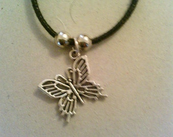 Silver coloured Butterfly with leather necklace