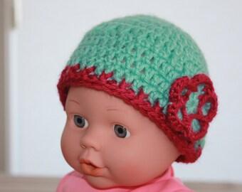 Hat Crochet Newborn Baby Beanie with Flower