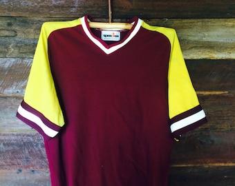 70s Baseball Jersey // Vintage Maroon Jersey // Size L