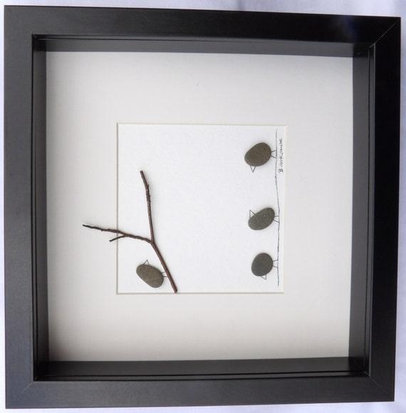 Scottish pebble art picture: Birds