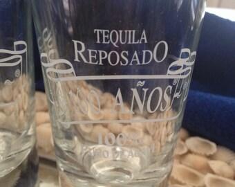 Vintage Set Of 3-XLarge Tequila Reposado Shot Glasses