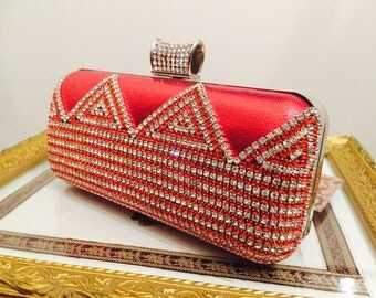 Evening clutch bag- formal clutch bag- wedding clutch bag- gold - Red