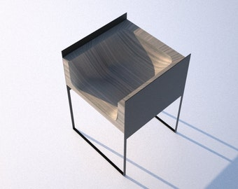 modern chair. wood and metal