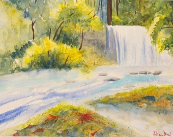 Stream in spring. Original watercolour painting.