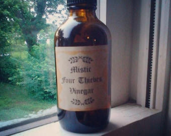 Mistic Four Thieves Vinegar, Thieves Vinegar, Spiritual Cleaner, Hoodoo Cleaner, Four Thieves Vinegar, Spiritual Cleansing, Thieves Cleaner