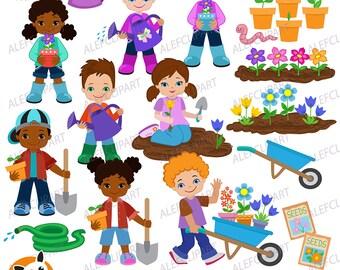 Spring Planting Flowers.Children plant flowers.Digital Clipart.