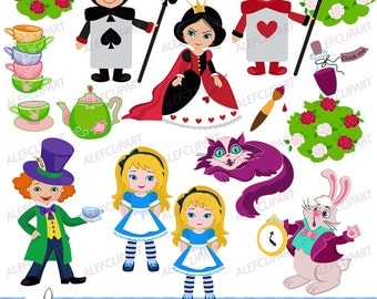 Clipart  Alice , Alice Wonderland Digital Clipart, Alice in Wonderland Clipart
