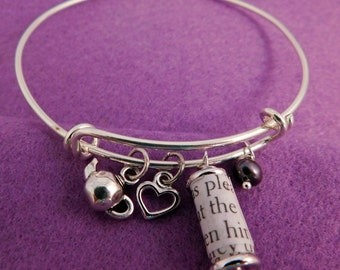 Pride and Prejudice Book Page Wire Charm Bracelet