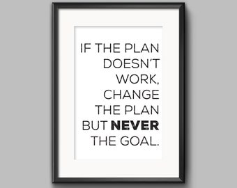 "Typographic Print Wall Art ""If the plan doesn't work, change the plan but NEVER the goal"" - Instant Download PDF file"