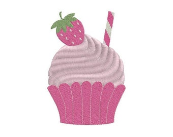 Strawberry cupcake machine embroidery design