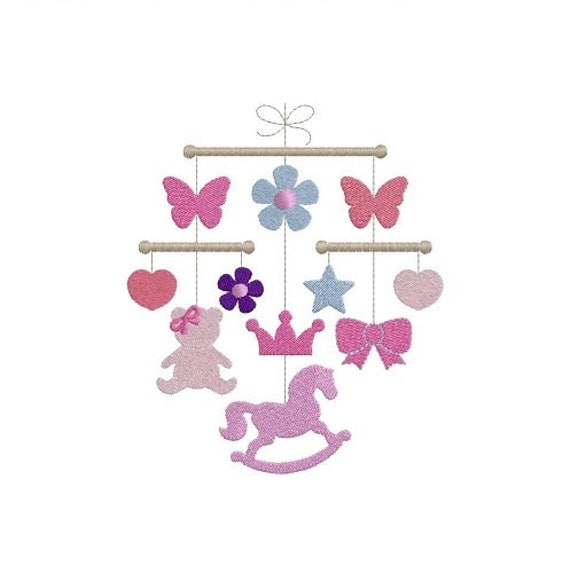 Baby girl crib mobile machine embroidery design
