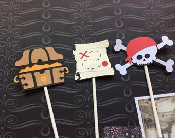12 Detailed Pirate Cupcake toppers