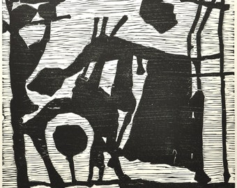 "Original woodcut, titled: ""Idyll"", 2004, by Roland Sanchez"