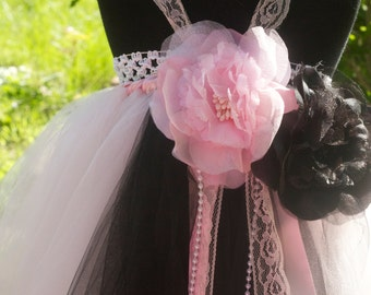 Flower girl tutu dress, Soft pink and Black tutu dress