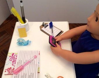 """Desk supplies for the American Girl 18"""" Doll."""
